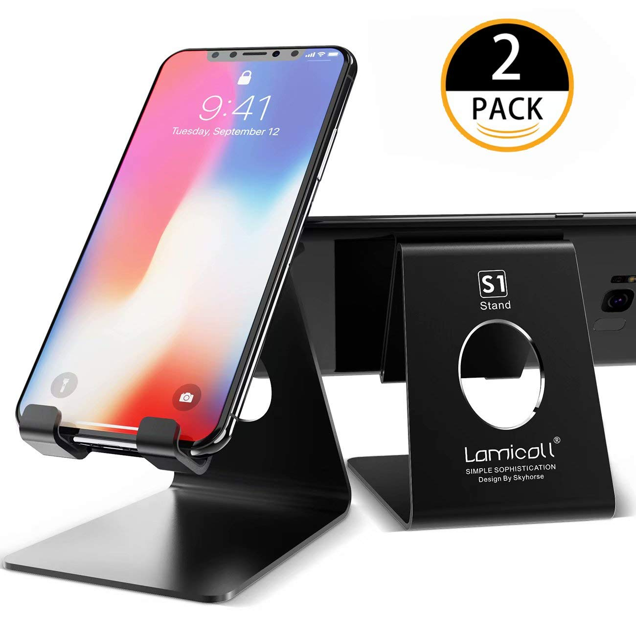 Cell Phone Stand, Lamicall Phone Stand : [2 Pack] Desktop Holder Cradle, Dock Compatible with Switch, all Android Smartphone, Phone 6 6s 7 8 X Plus 5 5s 5c, Universal Accessories Desk - Black
