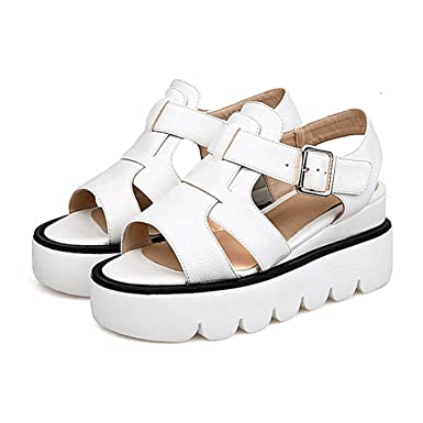 b21f545f8e1f42 Amazon.com  Meotina Gladiator Sandals Women Platform High Heels Summer Shoes  Grey Wedges Peep Toe Sandals Comfort New  Clothing