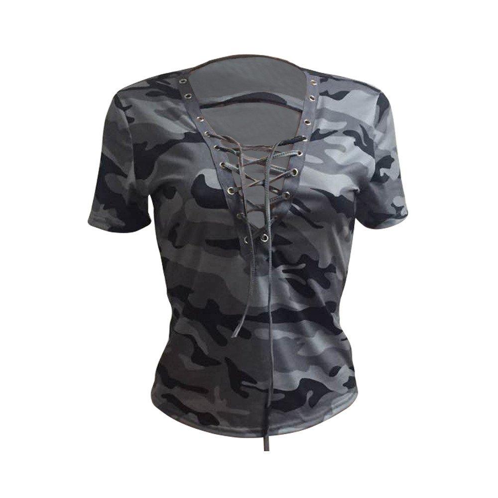 Hengshikeji Clearance Women Short Sleeve Camouflage Print