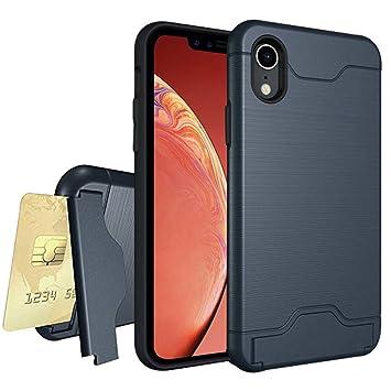 c1a210e055 iPhone XR ケース 背面 カード収納 スタンド 機能 耐衝撃 スマホケース TPU+顽丈PC二