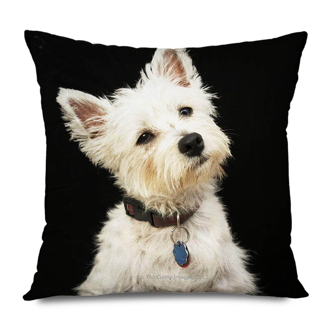 Ahawoso Throw Pillow Cover Square 18x18 Inches Vws Jg Westie West Highland Terrier Collar Cushion Case Home Decor Zippered Pillowcase