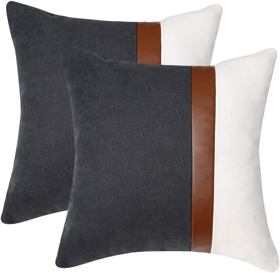 Kiuree Pack of 2 Gray and White Throw Pillow Covers for Couch Sofa Bed Living Room Neutral Leather Pillow Soft Cotton Linen Boho Outdoor Decorative Pillow Covers 18 x 18 Inch (Dark Gray and White)