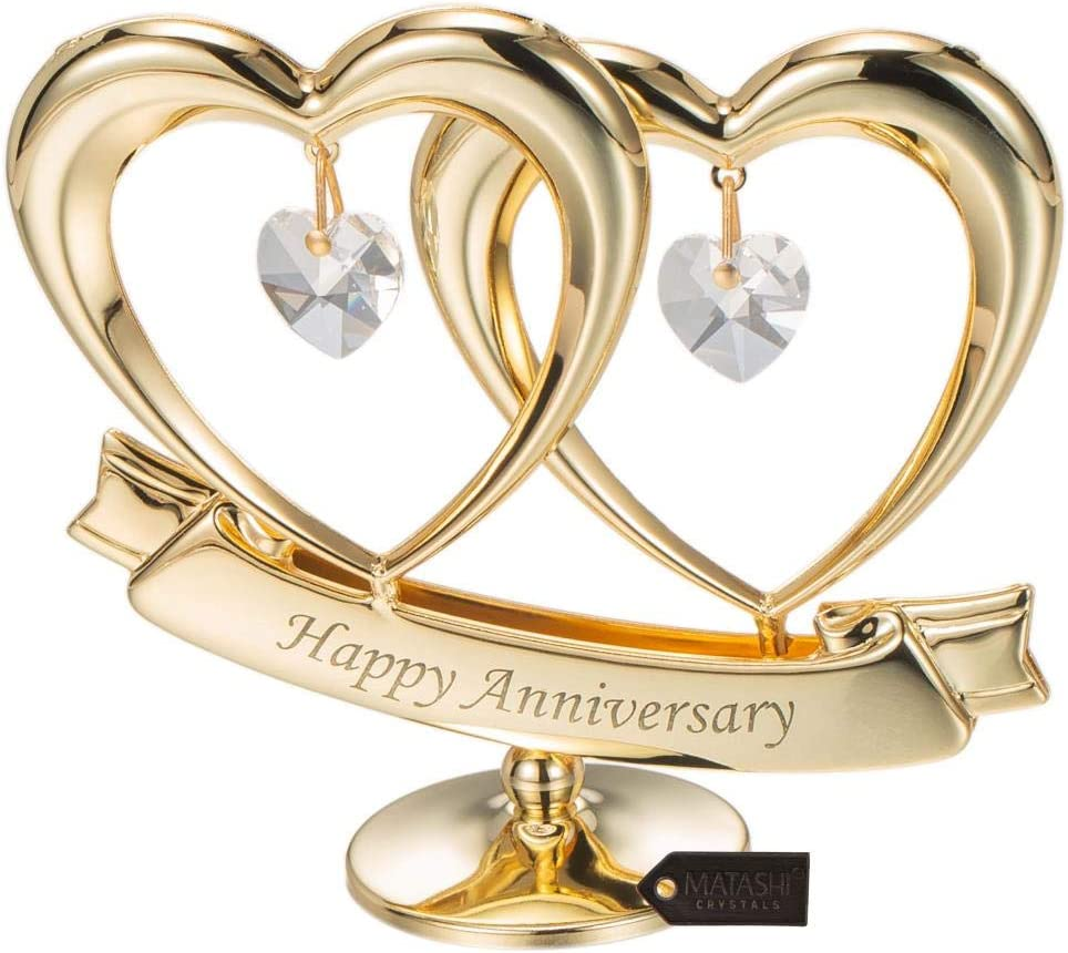 Matashi 24K Gold Plated Happy Anniversary Double Heart Figurine Ornament with Genuine Crystals (Clear Crystal) - Great Gift for Husband Wife Mother Father, Cake Topper, Wedding Vows, Romantic Gifts