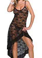 Modes Plus Size Womens Sexy See Through Lace Lingerie Gown Maxi Long Dress Set
