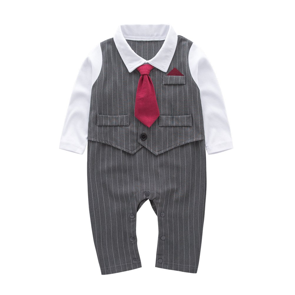 May's Baby Boys Long Sleeves Tuxedo Necktie One-piece Gentleman Romper Outfit (9-12 Months, Gray)