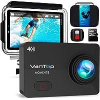 VanTop Caméra Sport 4k WiFi Étanche 30M Ultra HD 16MP 2.26 Pouces Grand écran 170°Grand-Angle 29 Accessoires avec la Carte mémoire 32GB