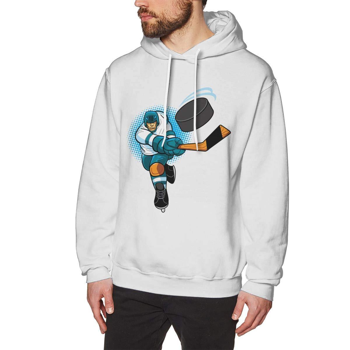 Man Fashion Pure Color Hoodie Long Sleeve Drawstring Hockey Player Hoodie