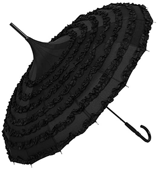 Make a Victorian Carriage Parasol  Parasol Lace Flowers Pagoda-Shaped Victoria Style Long Handle (Black) $21.98 AT vintagedancer.com