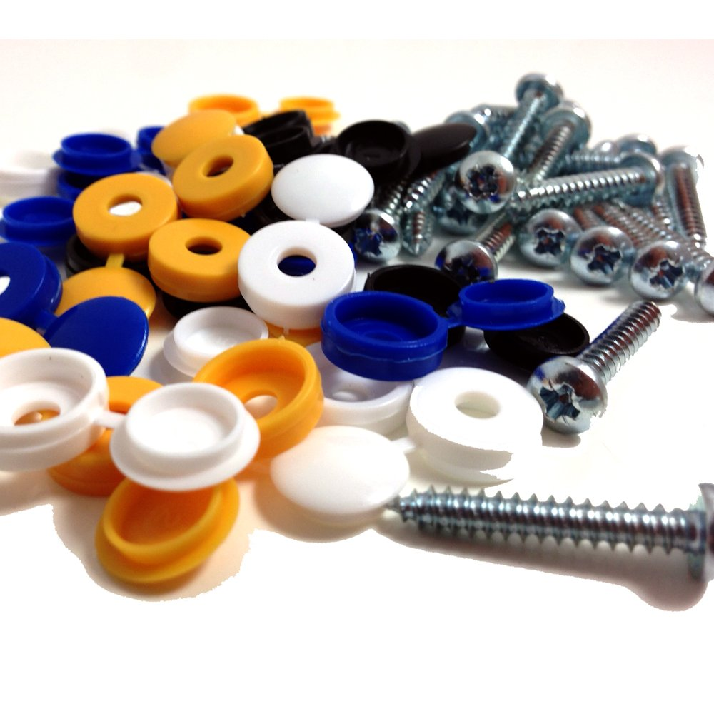 Car colour number plate - 24 Pk Number Plate Fixing Fitting Kit 1 Self Tapping Screws Coloured Caps