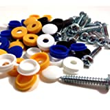 "24 PK NUMBER PLATE FIXING FITTING KIT, 1"" SELF TAPPING SCREWS & COLOURED CAPS"