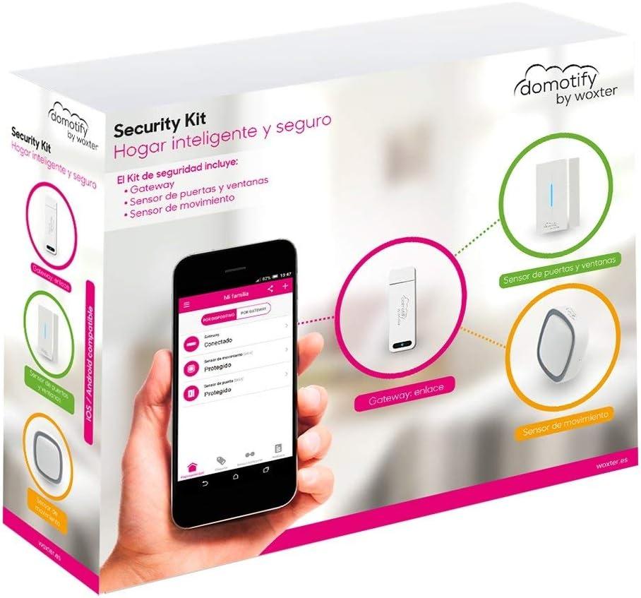 Woxter Domotify Security Kit - Kit de seguridad domótica de Domotify, incluye Gateway, Sensor de Movimiento y Sensor de Puertas/Ventanas, Domótica inalámbrica