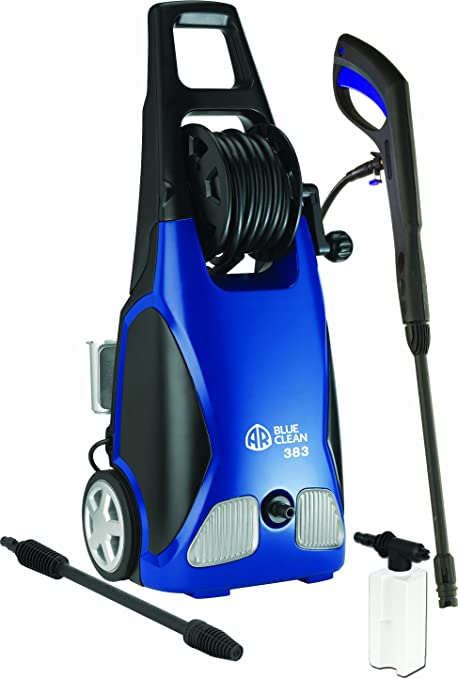 2. AR Blue Clean 1900 PSI Electric Pressure Washer with Spray Gun, 2 Different Nozzle Wands and 20 Foot Hose