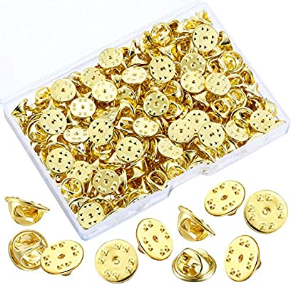 Gold, 200 Pieces Brass Butterfly Clutch Badge Insignia Clutches Pin Backs Replacement