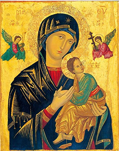 Framed Art for Your Wall Holy Icon Madonna Mother of Perpetual Help Vivid Imagery 10 x 13 Frame