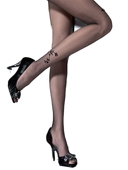 49911642513 Amazon.com  Athena 20 Denier Tattoo Pantyhose Color  Black Size  2 ...
