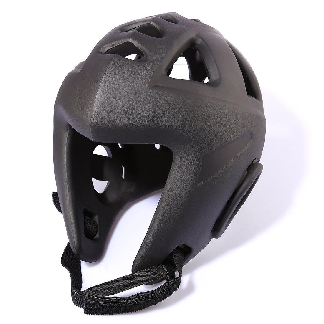 ヘッド保護ヘルメット、haoun Eva Boxing Headgear MMAプロテクターUFC Fightingヘルメット B075KP6ZTD ブラック Large