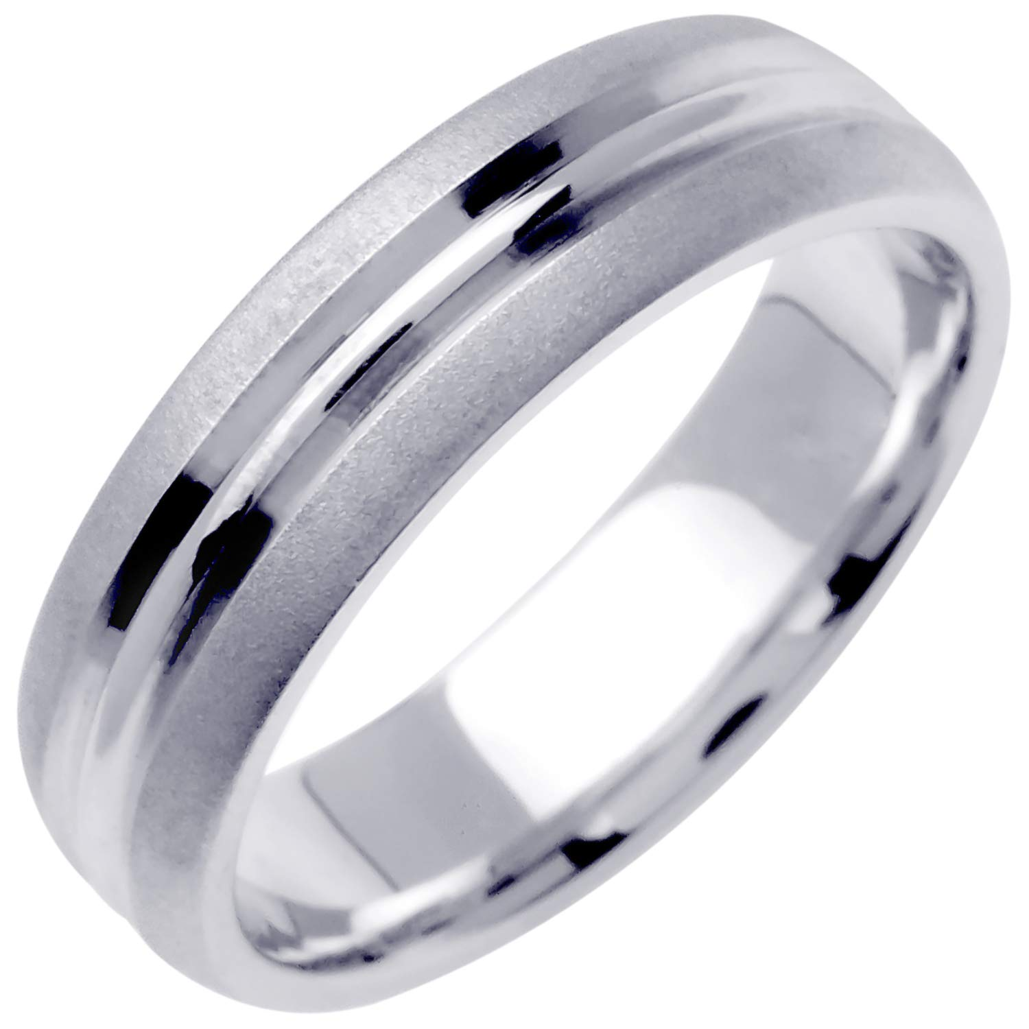 14K White Gold Center Stripe Men's Comfort Fit Wedding Band (6.5mm) Size-10c1 by Wedding Rings Depot