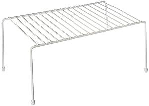 Smart Design Kitchen Storage Shelf Rack w/Plastic Feet - Medium - Steel Metal - Rust Resistant Finish - Cups, Dishes, Cabinet & Pantry Organization - Kitchen (13.25 x 6 Inch) [White]