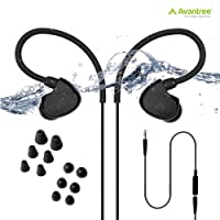 (Waterproof Earbuds for Swimming) - Avantree IPX7 Waterproof Headphones Swimming, Secure Fit Earbuds for Running/Runners, Sports, Diving, Surfing, Short Cord with Ear Hook and 6 Pair Soft Earbuds Tips (Not Bluetooth)