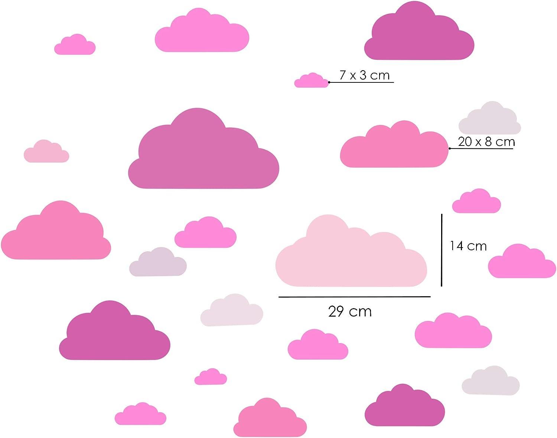 Mural ni/ños peque/ños pegatinas de pared de nubes de 20 piezas blanco adhesivo de pared Decoraci/ón de la pared del ojo so/ñoliento colores pastel adhesivo de papel tapiz para beb/és