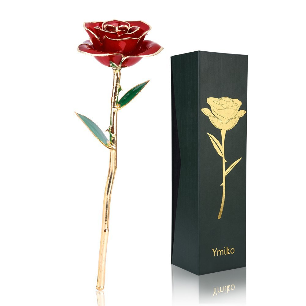 Ymiko 24K Gold Rose Flower, Long Stem Real Fresh Rose Dipped Plated 24K Rose in Gold Rose Stand Best Romantic Gift Valentine's Day, Mother's Day, Anniversary, Birthday Gift, Red Mother's Day