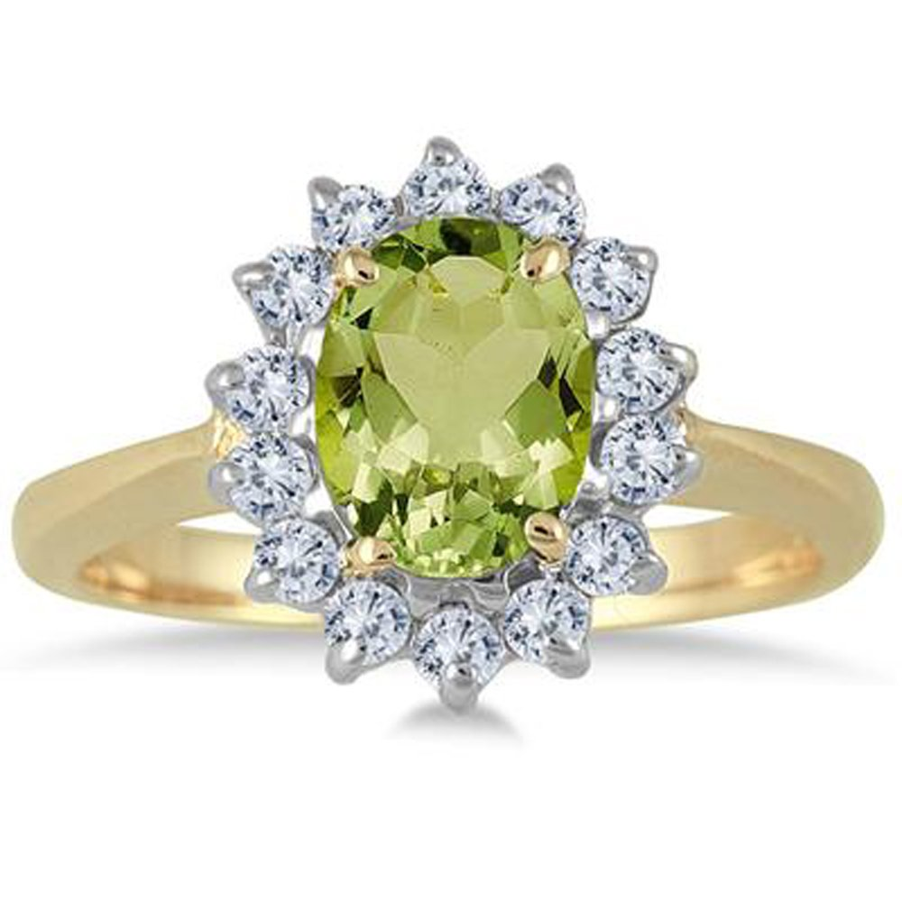Silvercz Jewels 1.50 Carat Oval Green Peridot And Diamond Halo Ring In 14K Yellow Gold Plated