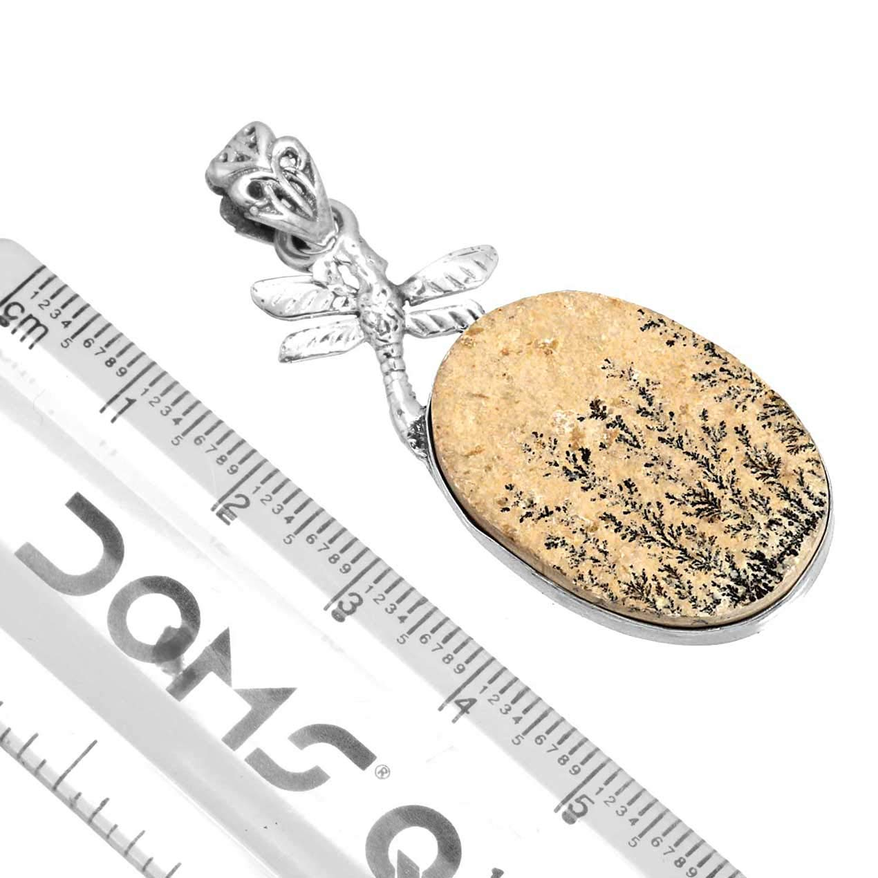 Solid 925 Sterling Silver Pendant Natural Germany Psilomelane Dendrite Gemstone Latest Jewelry