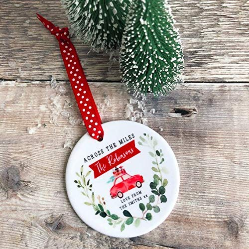 Family Ornament Ceramic Round Decoration Ornament Keepsake Personalised Across the Miles Christmas Car Botanical Christmas Gift for Family