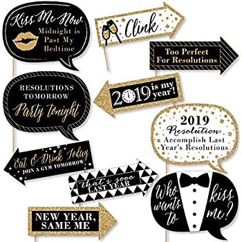 big dot of happiness funny new years eve gold 2019 new years eve party decorations photo booth props kit 10 piece