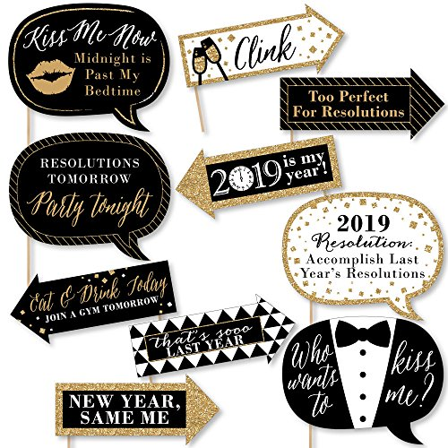 Big Dot of Happiness Funny New Year's Eve - Gold - 2019 New Years Eve Party Decorations - Photo Booth Props Kit - 10 Piece