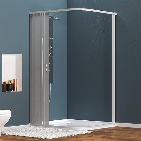 Mampara ducha angular extensible en PVC, apertura lateral, una ...