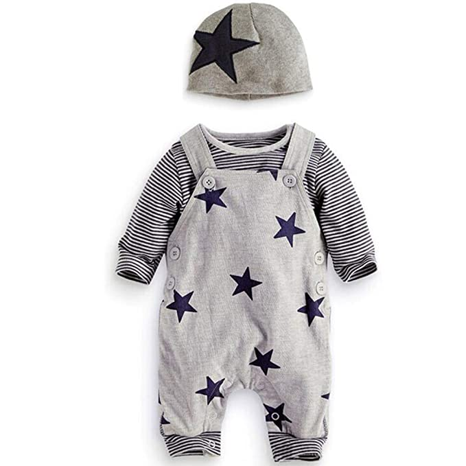 Grau Hosen Tops Hut Cute Jumpsuit Outfit Body Pr/ämie Reine Baumwolle Set Kleidung Neugeborenes Baby Strampler Star Kleidung Sets