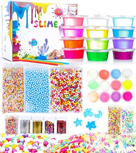 Shop Variety (Viyor shop DIY Super Slime Kit, Crystal Slime Kit Soft Fluffy Slime Supplies for Kids, Foam Slime Includes Slime Containers Foam Beads fruit slices)
