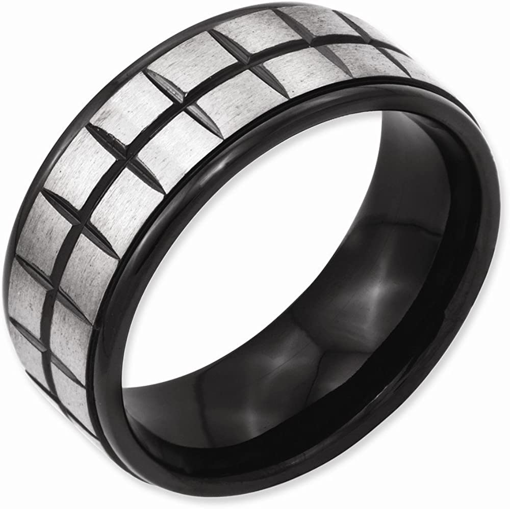 Best Quality Free Gift Box Titanium 9mm Black Ip-plated Brushed /& Polished Band