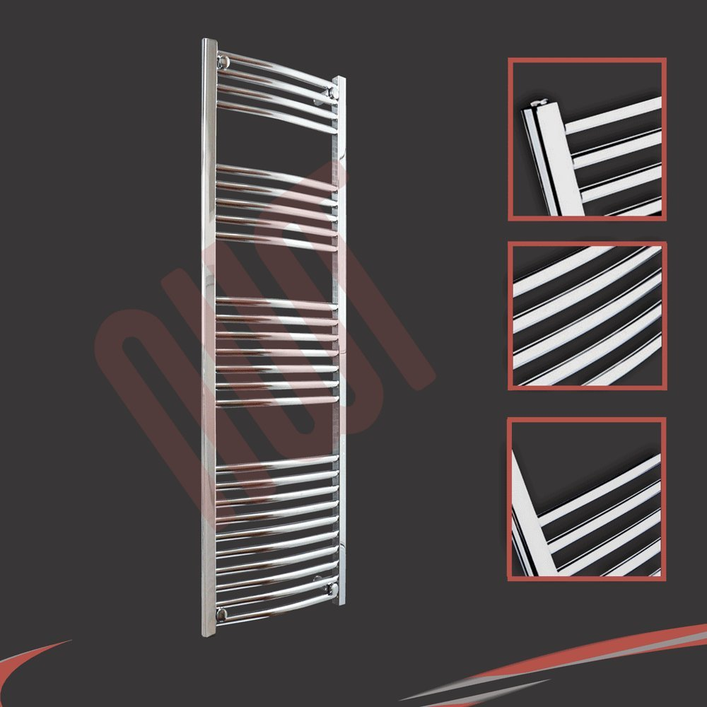 400mm(w) x 1400mm(h) Curved Chrome Heated Towel Rail, Radiator, Warmer 1984 BTUs Bathroom Central Heating Ladder Rail (Bar Pattern: 4-5-7-10) NWT Direct 400X1400CC