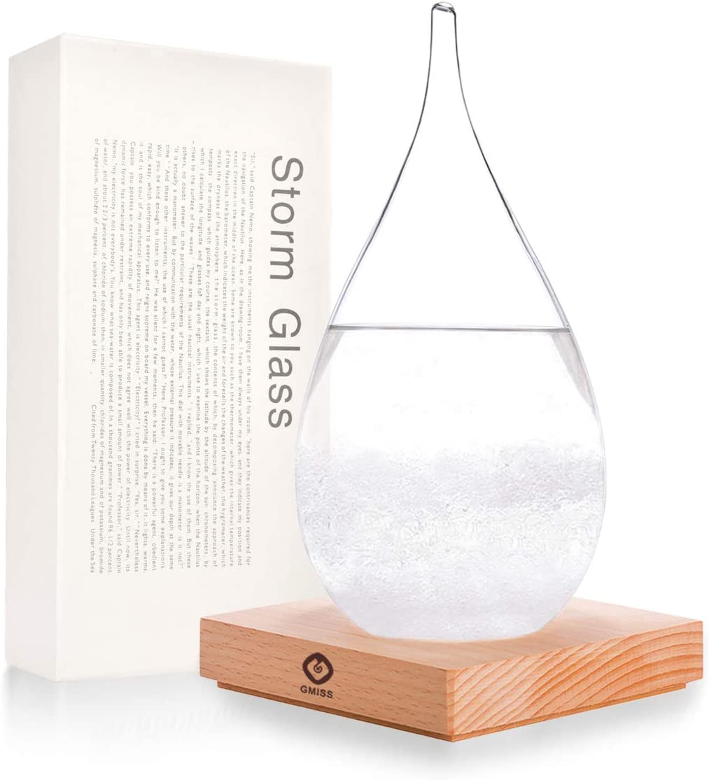 GM GMISS Creative Fashionable Storm Glass Weather Forecaster, Wooden Base, Storm Glass Bottle Barometer On Home and Office Decoration