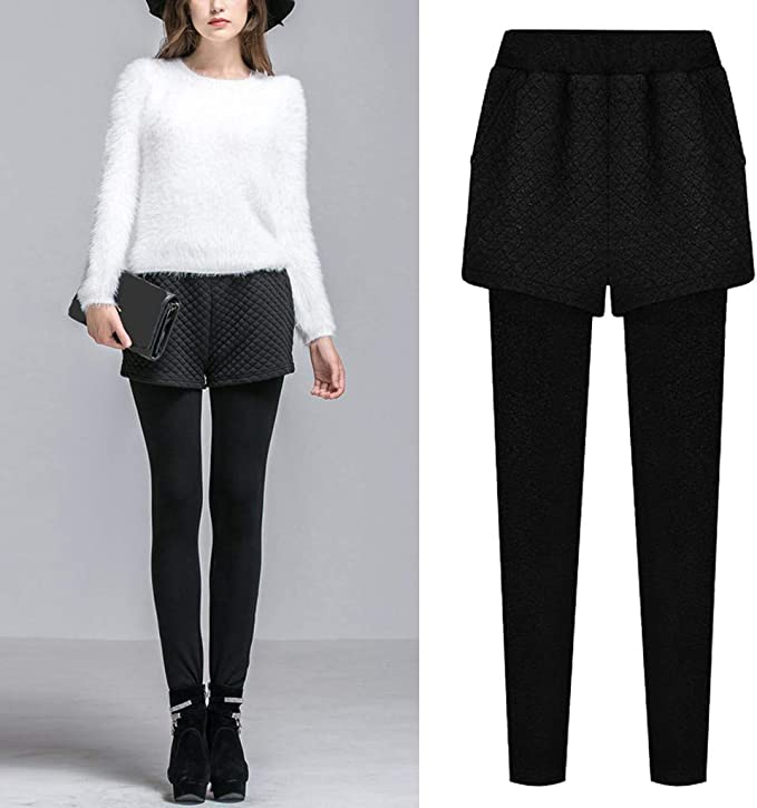 Qinpin - Pantalón de Mujer Falda Falda Falda de Cintura Alta para ...