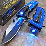 Best Led Knives - Tac-Force Blue Police Assisted Open LED Tactical Rescue Review