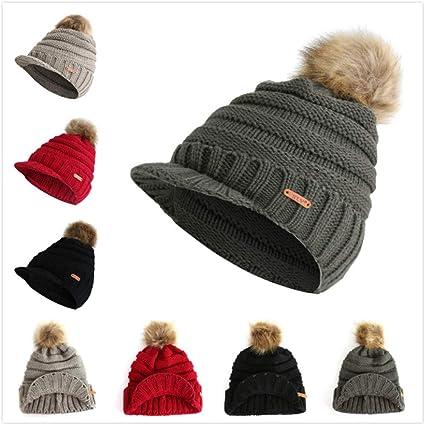 f514ea44238 Amazon.com  Nacome Women Winter Pom Pom Visor Beanie Hat with Warm ...