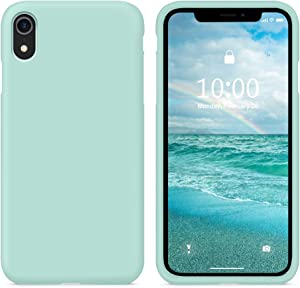 SURPHY Silicone Case Compatible with iPhone XR Case, Soft Liquid Silicone Shockproof Phone Case (with Microfiber Lining) Compatible with iPhone XR (2018) 6.1 inches (Mint Green)