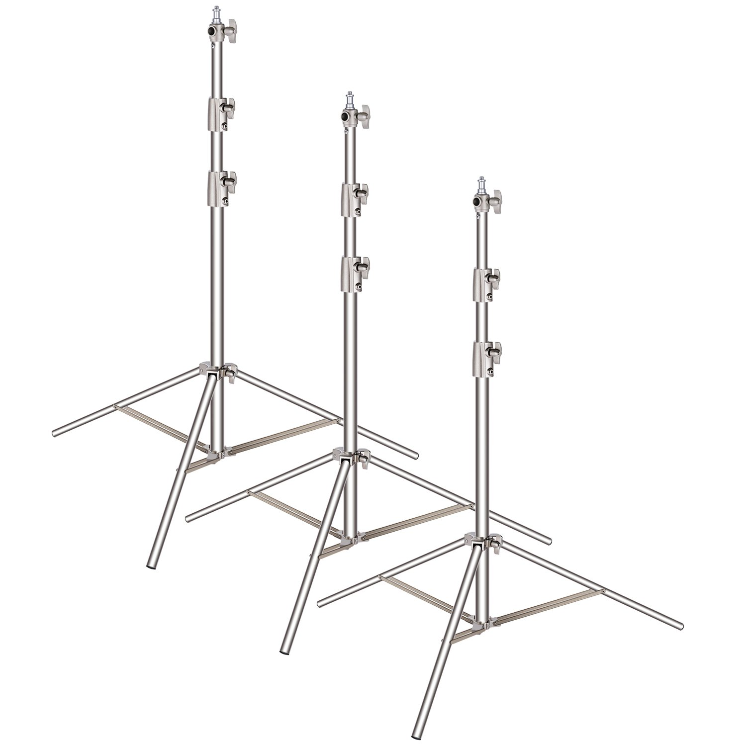 Neewer 3-pack Stainless Steel Light Stand with 1/4-inch to 3/8-inch Universal Adapter 39-102 inches/99-260 centimeters Foldable Support Stand for Studio Softbox,Umbrella,Strobe Light,Reflector,etc by Neewer