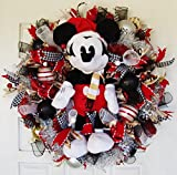 Deluxe 28'' Mickey Mouse Disney Plush Christmas Deco Mesh Wreath, Door, Decor, Decoration, Wall, Indoor Outdoor