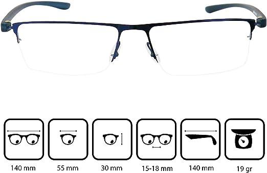 Funda GRATIS el Azul oscuro parece Negro Media Montura de Acero Inoxidable Gafas Para Leer Hombre y Mujer +1.0 Dioptr/ías Gafas de Lectura con Cristales Rectangulares