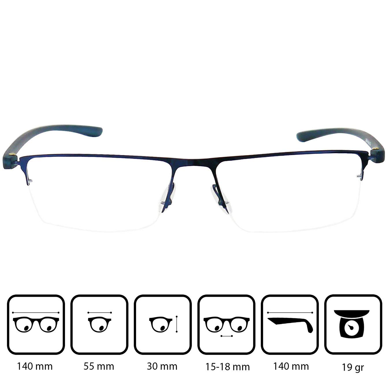 Readers for Men and Women +1.50 Dioptres Graphite Lightweight Stainless Steel Frame Including Free Case /& Free Microfiber Cloth Half Frame Metal Reading Glasses with Rectangle Lenses