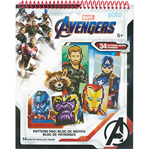 Perler Beads Marvel Avengers Pattern Instruction Pad, 34 Patterns, Multicolor