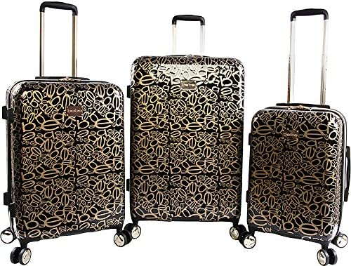BeBe Women s Annabelle 3-Pc Suitcase Set with Spinner Wheels, Black Gold, One Size