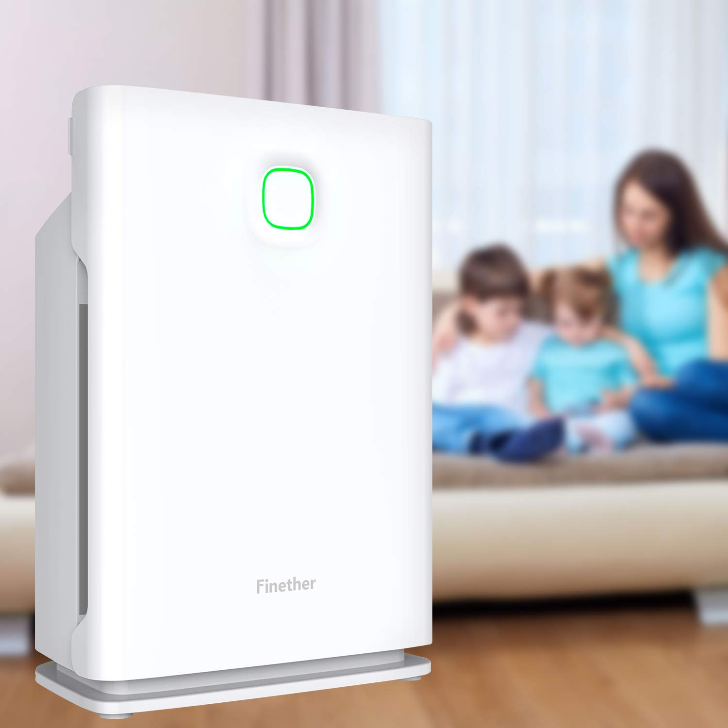 Finether Home Air Purifier Large HEPA Air Purifier Air Cleaner Machine Air Filter Machine Air Purifying Machine HEPA Active Carbon Filter with 3 Stage Filtration│4 Timers│3 Fan Speeds│3 Modes (Sleep/Turbo/Auto)│Child Lock Filter Replace Indicator│for Larg