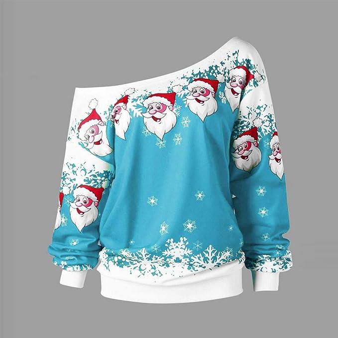 Camisas de Mujer,Dragon868 Moda Mujer Adolescentes Navidad Papá Noel Impreso Skew Collar Blusa(Wino,XL): Amazon.es: Juguetes y juegos