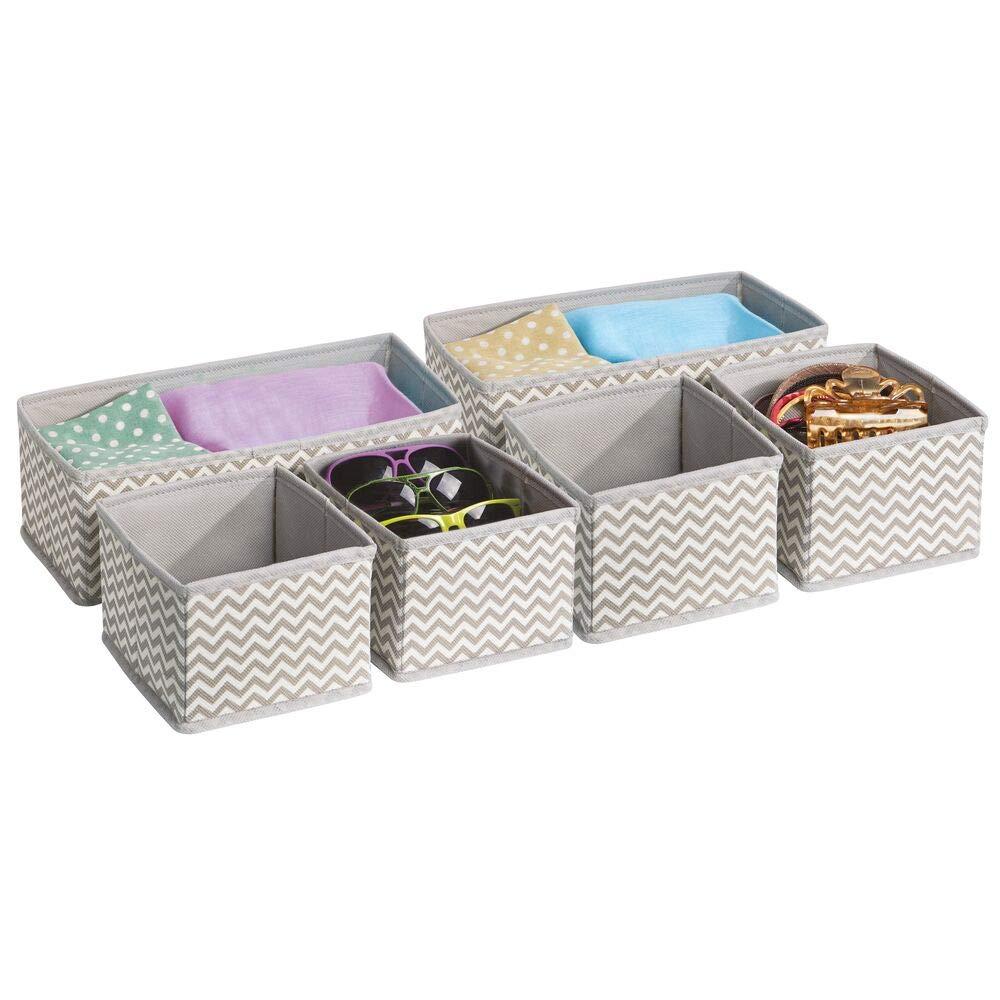 mDesign Soft Fabric Dresser Drawer and Closet Storage Organizer for Bedroom, Closet, Shelves, Drawers - Clothing/Accessory Organizing Bins - Set of 3 in 2 Sizes, Textured Print - Gray/Teal Blue