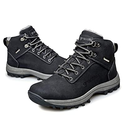 3cbb91f1a7 gracosy Men High Rise Outdoor Boots Non-Slip Trekking Shoes Winter Snow  Boots Waterproof Warm Ankle Boots Fur Lined Lace-up Outdoor Anti-Slip Shoe  for Sport ...